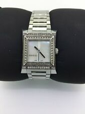 Authentic Gucci Swiss Made Ladies 111L Mother Of Pearl 35 Point Diamond Watch