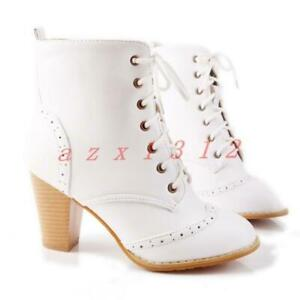 Womens High Block Heels Brogue Shoes Faux Leather Motorcycle Lace Up Ankle Boots