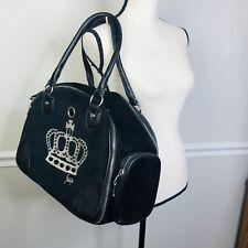 Rare black velour  Juicy Couture Cat Dog Pet Carrier BagHandbag crown