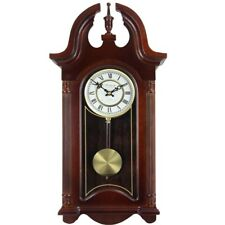 "26.5"" Colonial Mahogany Cherry Oak Finish Chiming Wall Clock - Roman Numerals"