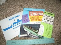 Vintage Cunard Lines Cruise Ship RMS Franconia Lot Deck Plans + Brochure