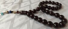 ANTIQUE TURKISH OTTOMAN DARK RED CHERRY AMBER BAKELITE WORRY PRAYER BEADS TESBIH