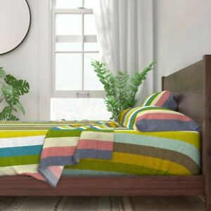 Sharon Turner Stripe Geo Retro 100% Cotton Sateen Sheet Set by Roostery