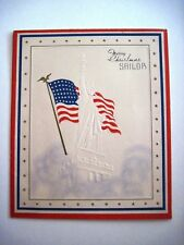 """Vintage Patriotic """"Christmas"""" Card for Sailor w/ Embossed """"Statue of Liberty"""" *"""