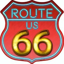 "Route 66 Neon Colors 11"" Highway Shield Metal Sign Novelty Retro Home Wall Decor"