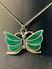 Channel Inlay Butterfly Pendant Vintage Sterling Silver Navajo Malachite