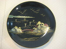 Vintage Japanese Black Lacquer Ware Handpainted Landscape Plate, 6 3/4