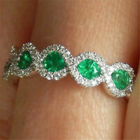 Gorgeous Oval Cut Emerald 925 Silver Jewelry Women Wedding Rings Gift Size6-10