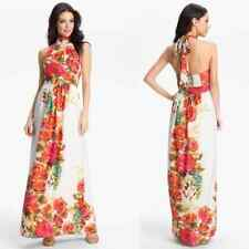 Eliza J Size 12 White Fuchsia Floral Print Lined Halter Top Maxi Dress Polyester