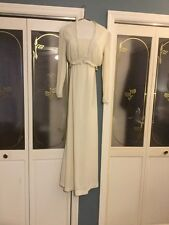 Vintage Cream Bohemian Bo-ho Lace Trimmed Maxi Wedding Cocktail Dress And Jacket