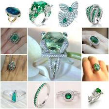 Women's 925 Silver Natural Gems Emerald Ring Mother Bridal Wedding Jewelry 6-10