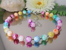 2er SET / Hübsches GLAS Perlen COLLIER + Ohrhänger IN MULTICOLOR
