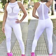 Colombian Brazilian Women's Jumpsuit Enterizo Supplex Mesh S M Gym Workout