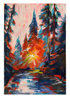 original painting A4 342VE art samovar acrylic Modern winter landscape sunset