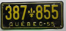 Quebec 1955 License Plate NICE QUALITY # 387-855