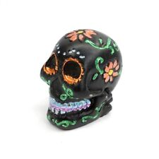 """Black Sugar Skull Day of the Dead Small Figurine 2"""" Hand Painted Orange Flowers"""
