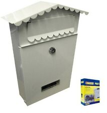 SMALL WHITE LETTER POST MAIL MAILING BOX POSTAGE LETTER BOX METAL STEEL LOCKABLE