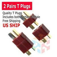 2 Pairs T-Plug Red Deans Connectors Male & Female For RC LiPo Battery