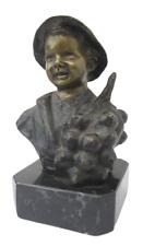 Statua bronzo busto bimbo scugnizzo su marmo - firmato de Martino - epoca 900