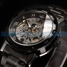 UK Transparent Steampunk Skeleton Mechanical Stainless Steel Watch For Men