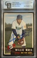 Willie Mays HOF Signed 1953 Topps #244 HIGH# Autographed Vintage RARE Auto Card