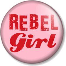 "REBEL GIRL 1"" Pin Button Badge Feminist Feminism Women's Rights Bikini Kill Song"