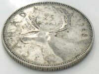 1948 Canada Twenty Five 25 Cent Silver Quarter Circulated George VI Coin K082