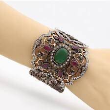Womens Turkish Bangle Bracelets Big Vintage Indian Adjustable Green Crystal Cuff
