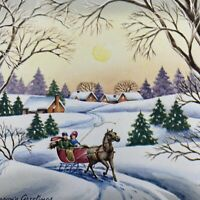 Vintage Mid Century Christmas Greeting Card Pink Sleigh Ride Snowy Woods Houses