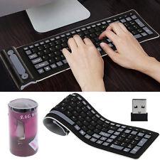 2.4Ghz Wireless Keyboard Waterproof Flexible Silicone Soft Rubber PC /