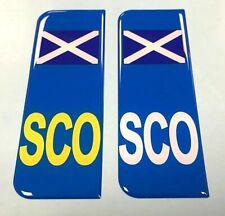2 x Scotland Flag SCO Vehicle Number Plate Sticker - 39mm - HIGH GLOSS DOMED GEL