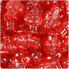 24 Red Transparent 24mm Christmas Santa Plastic Pony Beads Made in the USA