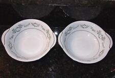 Noritake LEONORE Cereal Bowl Pair Lugged Handles 2 Bowls 6676 HARD TO FIND