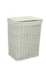 Cesta de ropa de mimbre blanco (Medidas: 45x33x58 cm)