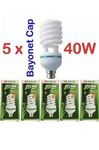 5 X   40W 8000K LIGHTBULB DAYLIGHT BULB B22 BAYONET CAP ENERGY SAVER HOME