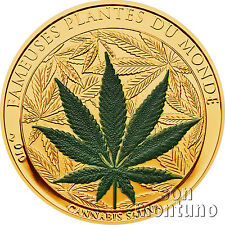 2010 Benin CANNABIS SATIVA Gold Plated Marijuana Scented CuNi Coin FAMOUS PLANTS