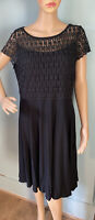 M&S Woman Fit And Flare Short Sleeve Lace Bodice U.K. Size 14 Black Exc Cond