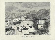 Stampa antica TIBET veduta di un villaggio Cina China 1881 Old antique print