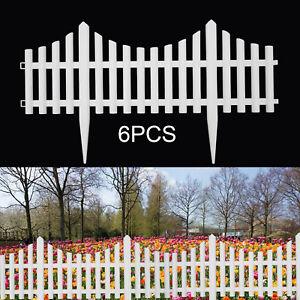 6 White Plastic Wooden Effect Lawn Border Edge Garden Edging Picket Fencing Set