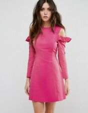 cc15f6deca ASOS Cold Shoulder Structured Dress With Ruffle in Cerise Pink UK Size 12