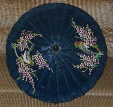 Asian Thailand Hand Painted Trogon Birds Cherry Blossoms Umbrella Parasol Bamboo