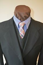 Pal Zileri mens 3btn black textured stripe wool suit sz e52C US 44S pants 37x29