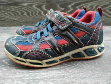 Boys GEOX Respira SPIDER-MAN light up breatheable leather Trainers Size 1UK eu33