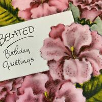 Vintage Mid Century Birthday Greeting Card Pink Tropical Flowers Floral