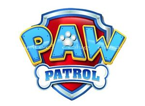 """PRECUT EDIBLE 5"""" PAW PATROL SIGN BLUE OR PINK CAKE TOPPER FAB FOR PAW-TY CAKES"""