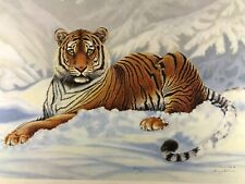 "Vintage Wildlife Artist Jim Oliver ""Siberian Tiger "" Signed Embossed Lithograph"
