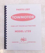 Towmotor Model Lt35 Parts List Catalog Manual Circa 1950 Scanned Copy
