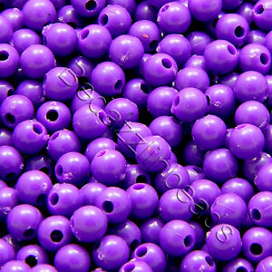 20 Grams of 600 Plastic Acrylic 4mm Round Solid Opaque Colored Small Ball Beads