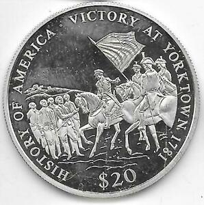 2002 Proof Liberia $20 .999 Silver History of America Victory at Yorktown 1781