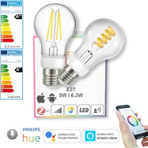 LED E27 Smart 5W, 6,3W Leuchtmittel Zigbee Lampe dimmbar CCT Filament Birne